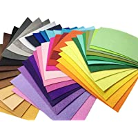 """Misscrafts 42pcs 6"""" x 6"""" (15x15cm) 1mm Thick Soild Felt Nonwoven Fabric Sheet Pack DIY Craft Patchwork Sewing Squares Assorted Colors"""