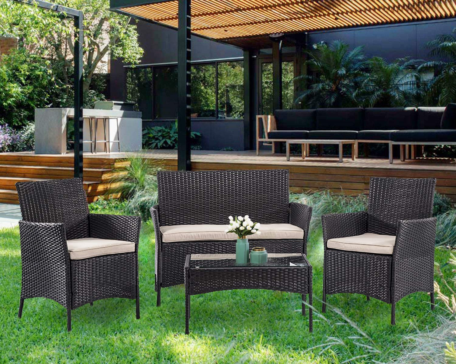 FDW Wicker Patio Furniture 4 Piece Patio Set Chairs Wicker Sofa Outdoor Rattan Conversation Sets Bistro Set Coffee Table for Yard or Backyard