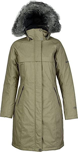 Columbia Women's Flurry Run Down Long Omni Heat Jacket Coat Hooded Parka, Truffle, Small