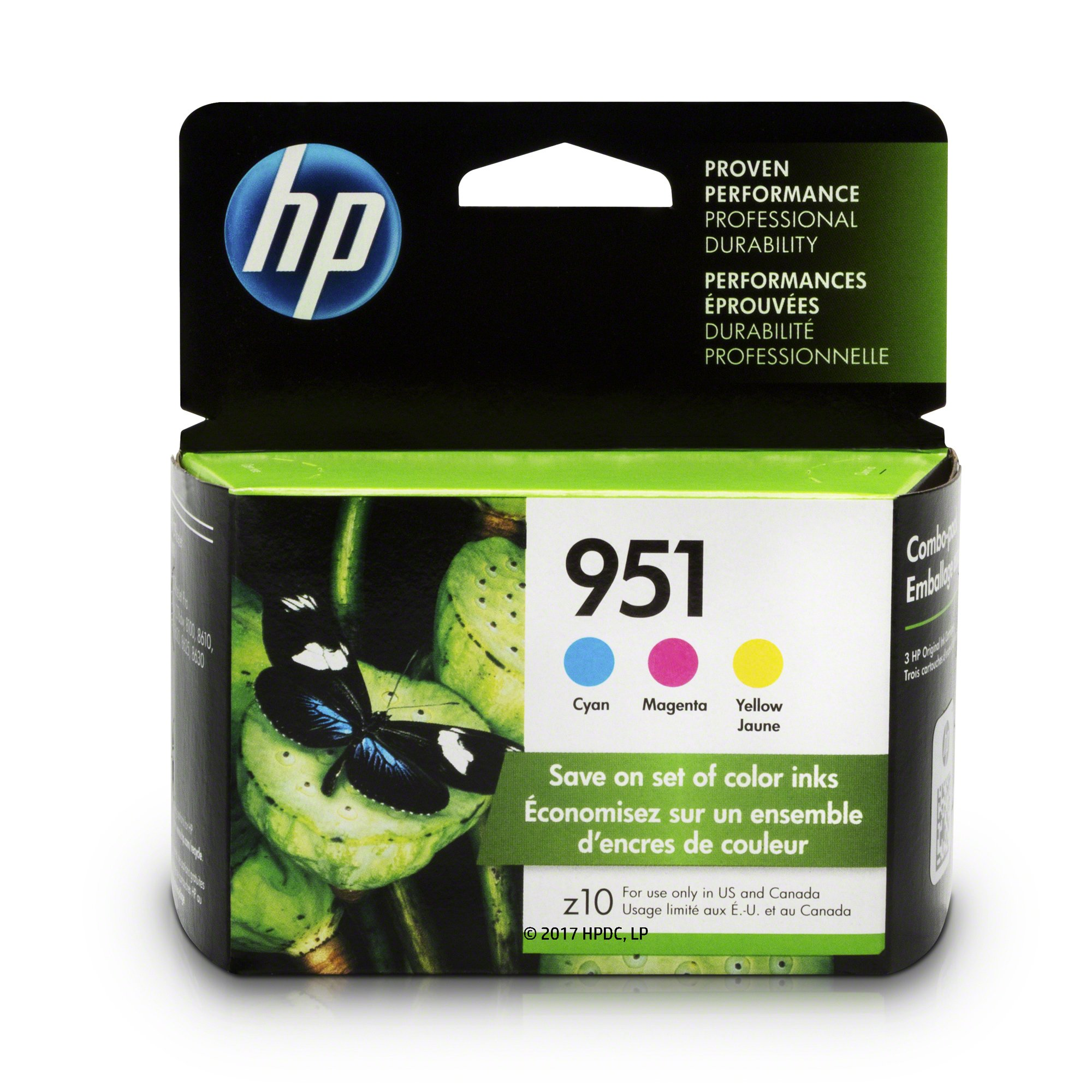 HP CN051AN#140  951 Ink Cartridges Cyan, Magenta & Yellow, 3 Ink Cartridges (CN050AN, CN051AN, CN052AN) for  Officejet Pro 251, 276, 8100, 8600, 8610, 8620, 8625, 8630