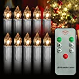 10Pcs Warm White LED Taper Candles Lights LED with Remote Control, Brightly Flameless Battery Operated Candles With Removeable Clips for Window,Chandelier,Christmas,Halloween,Thanksgiving Day Gift