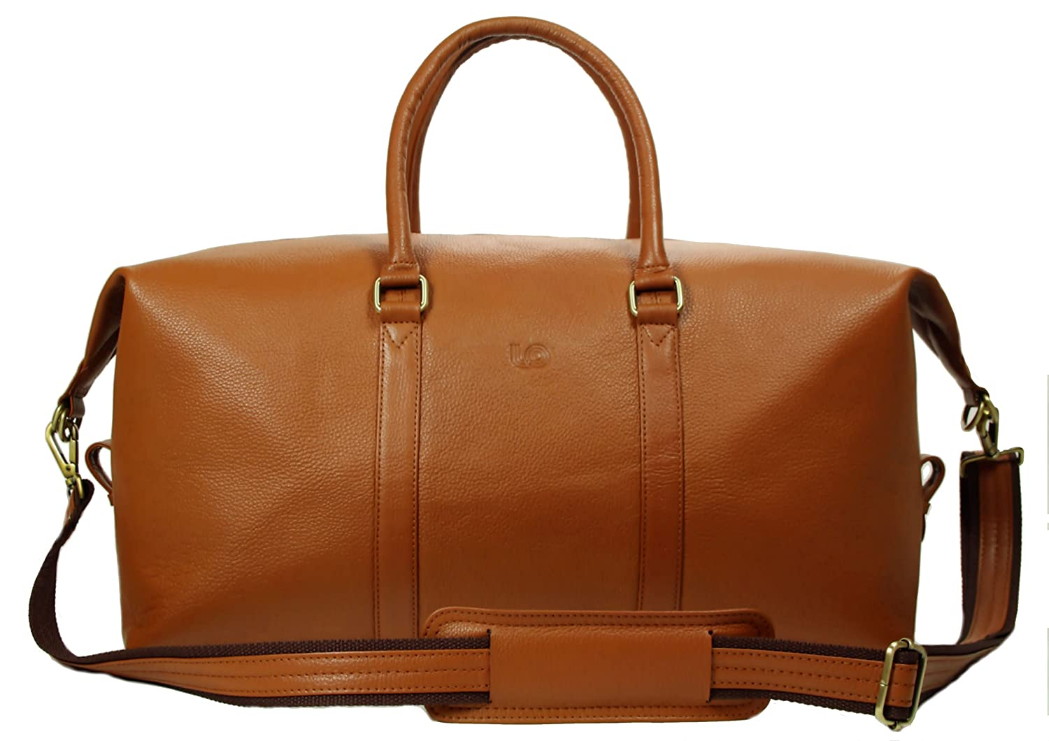 LeftOver Studio Expandable Weekend Overnight Travel Duffel Bag in Tan Top Grain Cow Leather