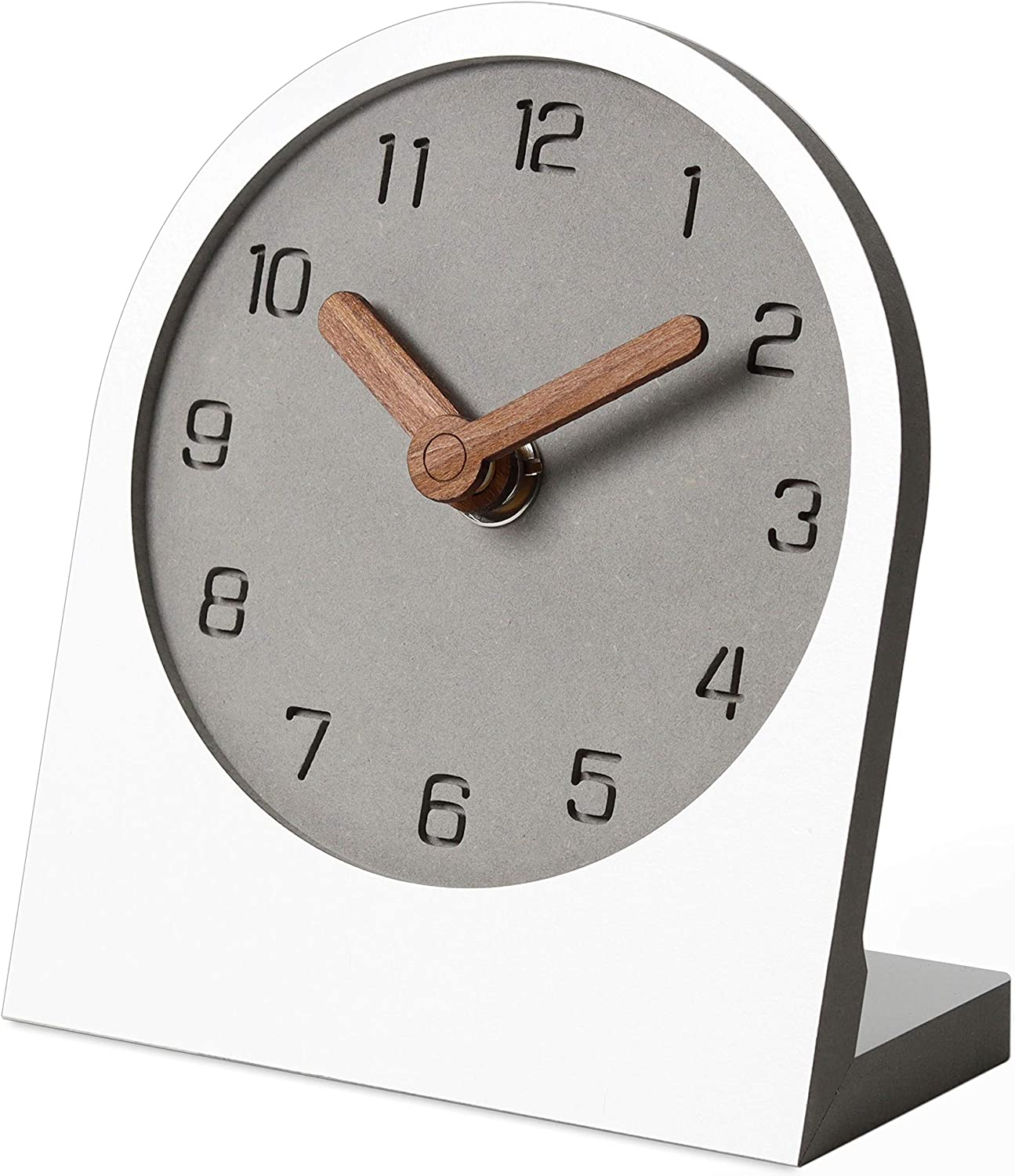 mooqs Wooden Silent Non-Ticking Battery Operated Decorative Small Mini Analog Modern Shelf Desk Table Clock for Home, Office, Living Room, Bed Room (White)