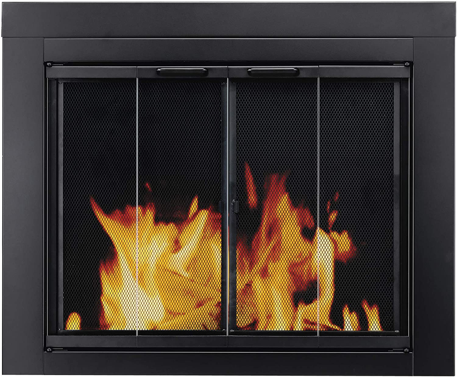Pleasant Hearth AT-1001 Ascot Fireplace Glass Door, Black, Medium