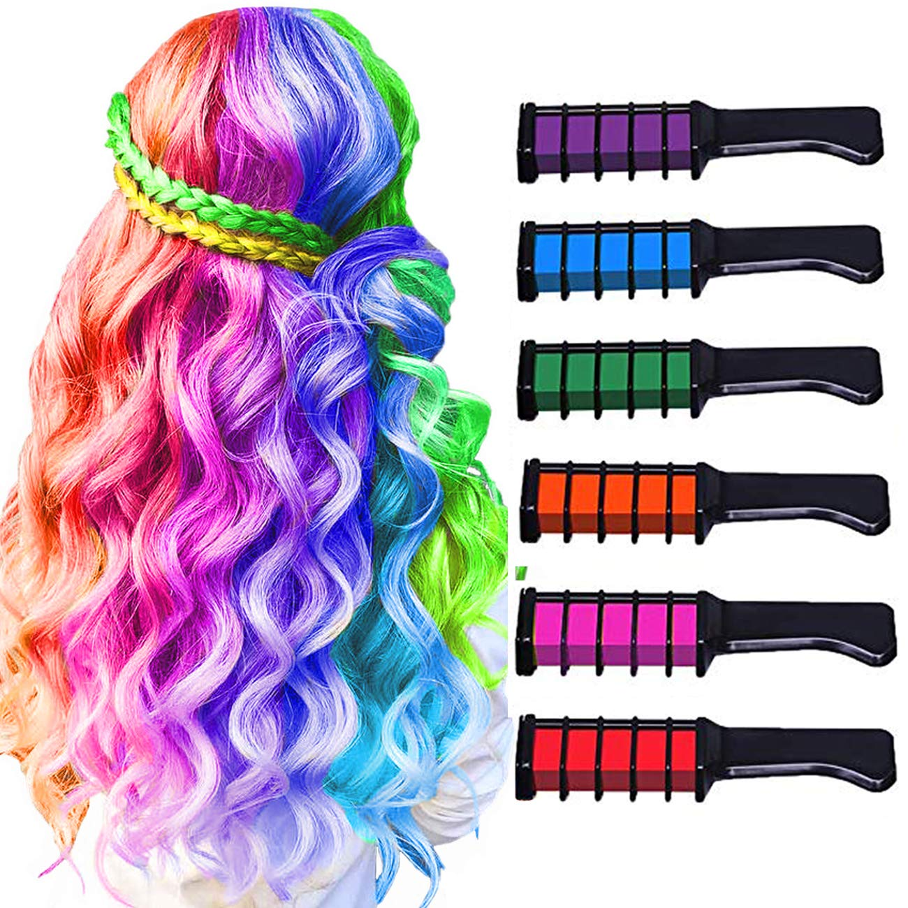 Hair Chalk for Girls Christmas Gift,Temporary Bright Washable Hair Color for Kids, Hair Chalk Comb Gift for Girls Age 4 5 6 7 8 9 10+ on Birthday Cosplay Christmas Parties