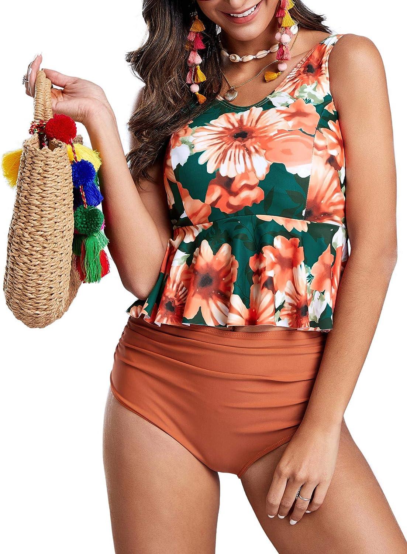 Misassy Womens High Waisted Swimsuits Ruffle Peplum Tankini Ruched Tummy Control 2 Piece Bathing Suits Orange