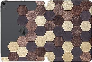 Cavka Case for Apple iPad 10.2 8th Gen 12.9 Pro 11 10.5 9.7 Air 3 Mini 5 4 3 2 1 2019/18 Mosaic Honeycomb Wood Brown Clear Abstract Design Hexagon Tiles Women Lightweight Auto Wake Sleep
