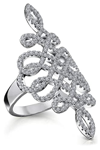 Bling Jewelry Art Deco Style Swirl Pave CZ Rhodium Plated Cocktail Ring FTTbXy5i