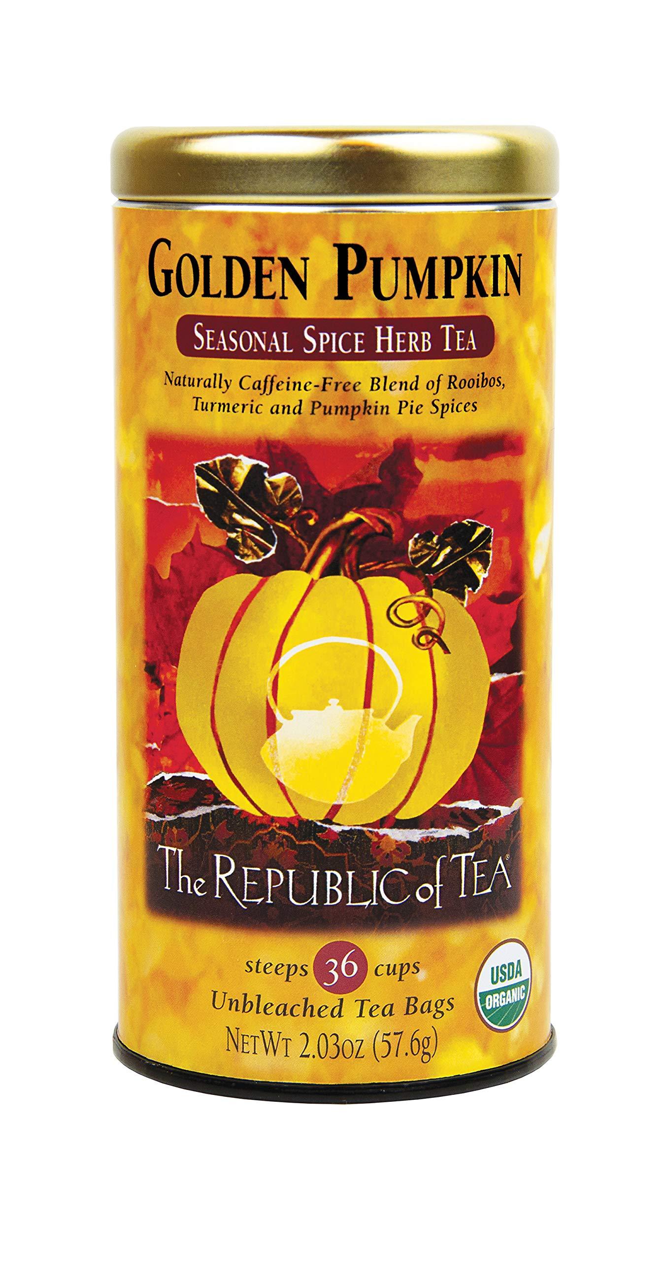The Republic of Tea Golden Pumpkin Herbal Tea, Seasonal Spice Herb Tea, 36 count by The Republic of Tea