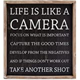"17"" X 18.5"" X 1.5"" Framed Sign (Life Is Like A Camera...) Black/White - Model Number - 19003"