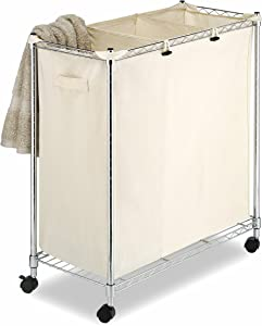 Whitmor 3 Section Rolling Supreme Laundry Sorter with Removable Canvas Bags