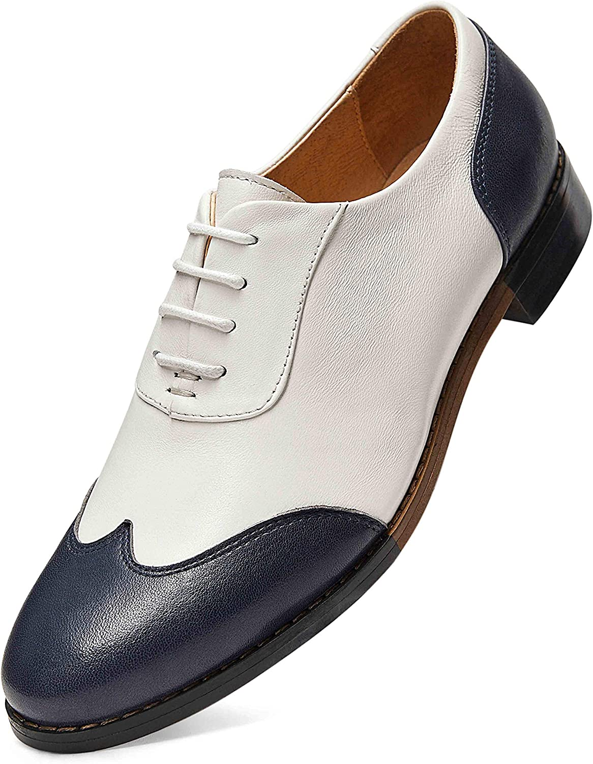 Amazon.com | FRASOICUS Women's Oxfords Brogue Leather Wingtip Lace up Flats  Formal Wedding Dress Shoes for Girls Ladies | Oxfords