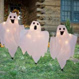 WATERGLIDE Halloween Decorations, 3 Pack Lighted White Cloth Ghost Stakes, 20-Count Incandescent Light 26 Inch Tall Ghosts, L