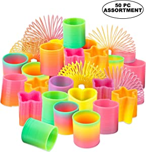 Rainbow Spring Toy Assortment - (Pack of 50) Mini Plastic Coil Spring Toy | Bright Colors and Shapes, Goody Bag Filler, Party Prizes and Stocking Stuffers for Kids by Bedwina