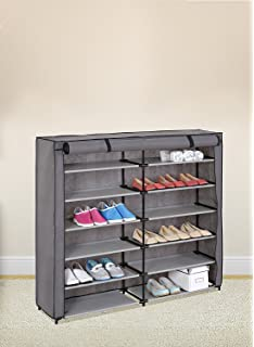 grey 7tier shoe rack 42pair portable shoe storage cabinet organizer with fabric