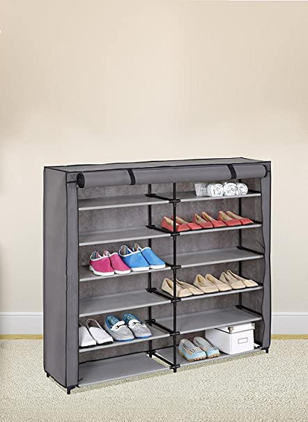 Amazoncom Grey 7 Tier Shoe Rack 42 Pair Portable Shoe Storage