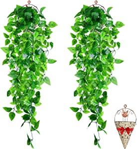 BABEIYXM 2 Pieces Artificial Hanging Pot Plants ,3.6 Feet Long Artificial Ivy Fake Green Leaves , Upgraded Models, Suitable for Wall Indoor Outdoor Garden Wedding Decoration (2 Baskets)