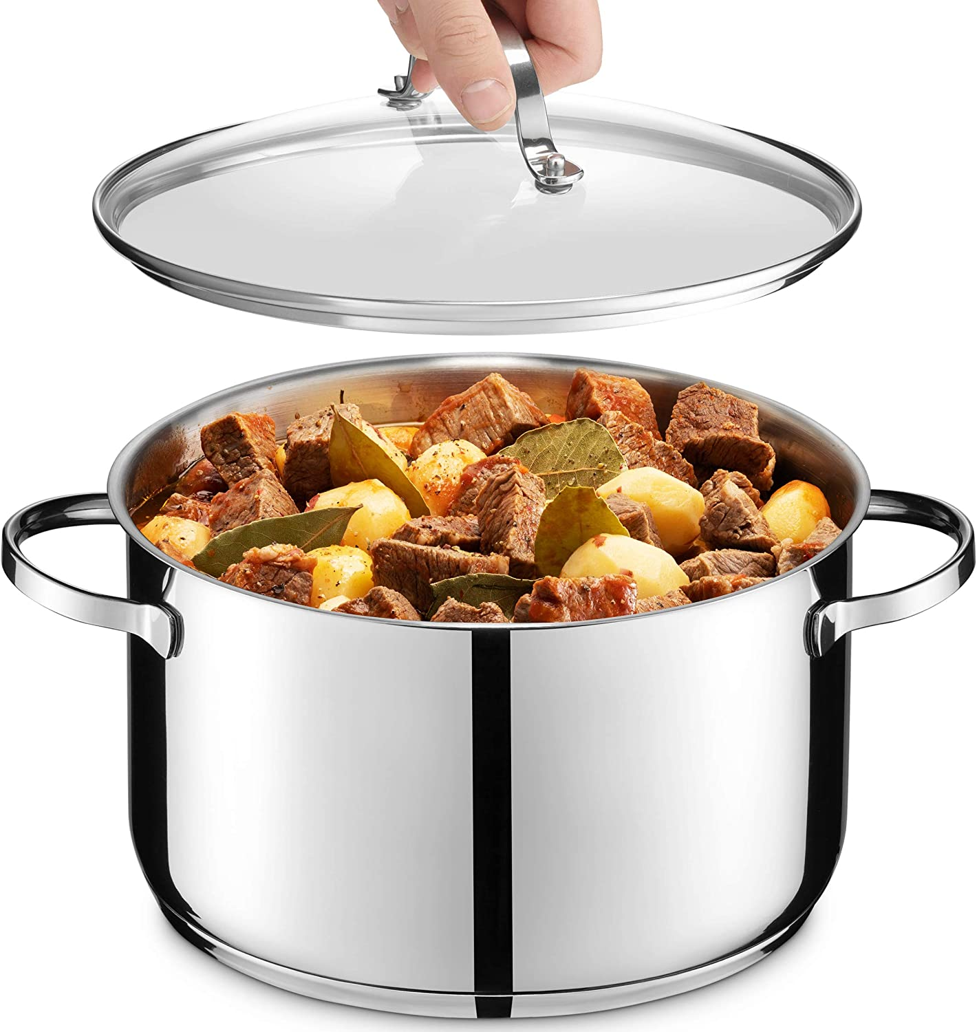 GOURMEX Tango Induction Casserole Stainless Pot With Tulsa Mall Popular Gla Steel