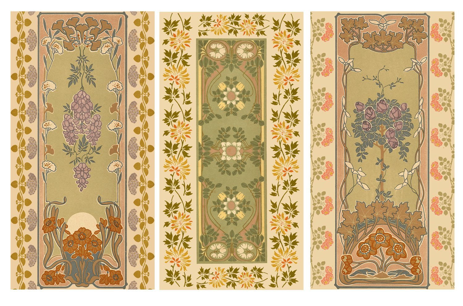 Decoupage Paper Pack (12 sheets A4 / 8x11) Art Nouveau Borders Patterns FLONZ Vintage Ephemera