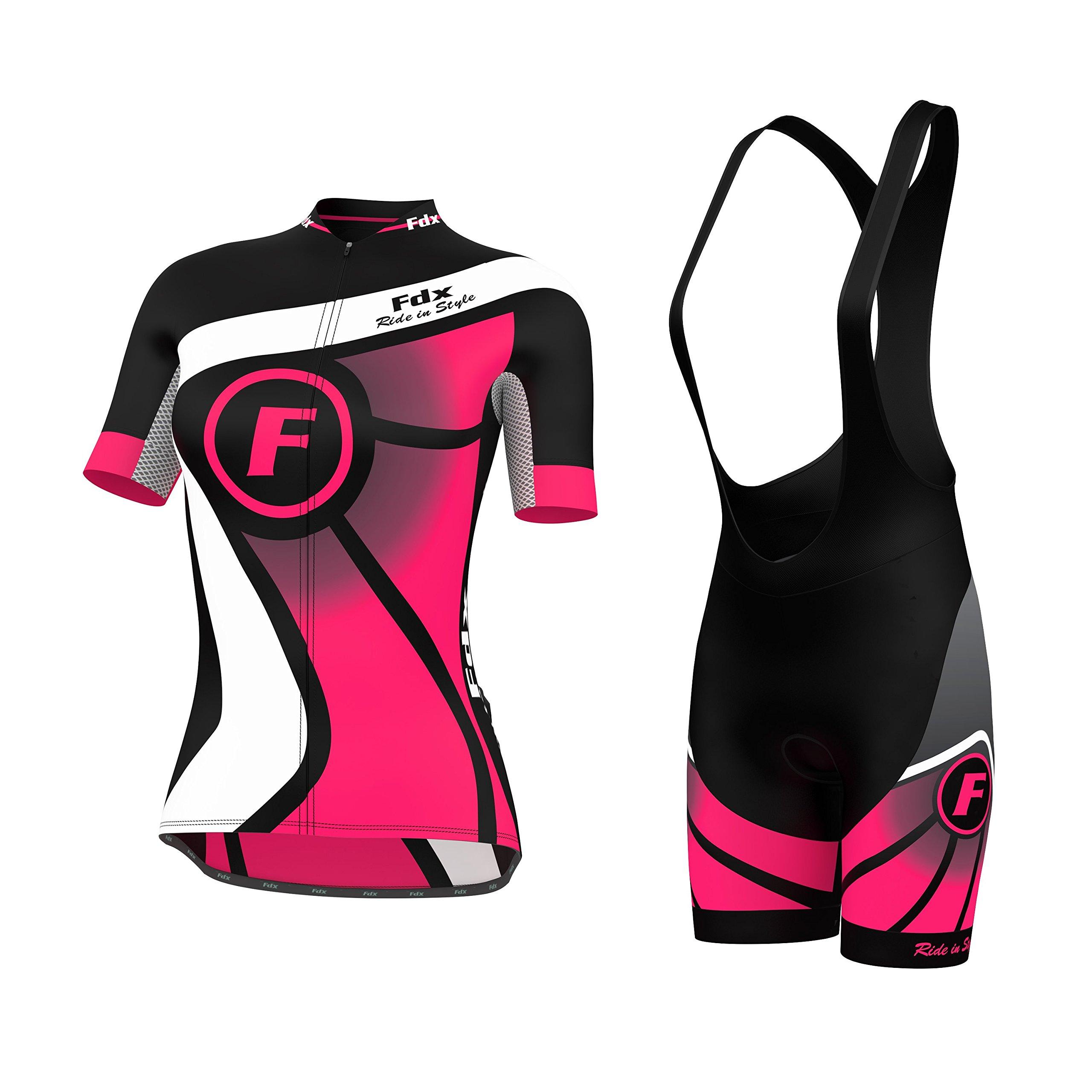 4cf23ce352a2 FDX - Maglia da ciclismo da donna a mezze maniche e salopette con  pantaloncini, FDX