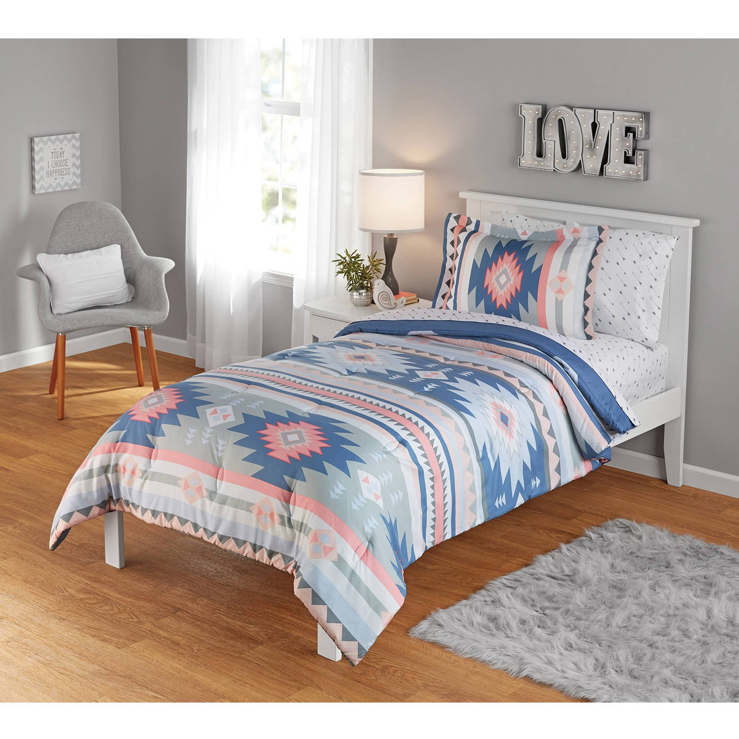 N2 2 Piece Ivory Blue Coral Pink Aztec Comforter Twin/Twin XL Set, Bohemian Bedding Indie Southwest Tribal Native American Pattern Motifs Grey Stripes Indian Western Gray, Polyester
