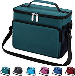 Leakproof Reusable Insulated Cooler Lunch Bag - Office Work School Picnic Hiking Beach Lunch Box Organizer with Adjustable Shoulder Strap for Women,Men and Kids-Army Green