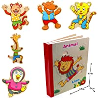 Wooden Books Puzzle - Animals (Lion)   Wooden Books - 6 Collapsible Pages of Various Shapes and Colors  Developing of…