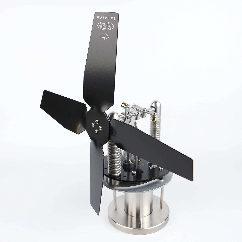 Warpfive Heat Powered Stove Top Fan for Wood Multi-Fuel Coal Steelhead Eco Stirling Engine