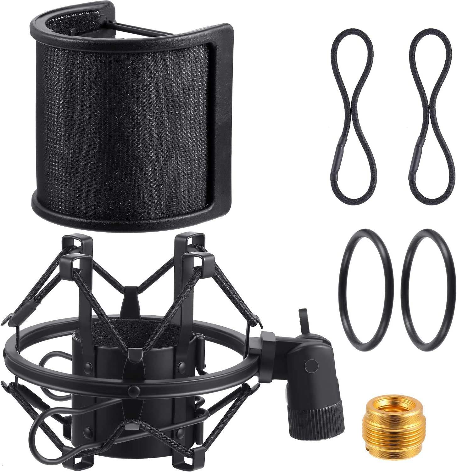 Mic Anti-Vibration Suspension Shock Mount Holder Clip 7 Pieces Microphone Holder Set Include Shock Mount with Pop Filter Replacement Rubber Band Universal Connector Adapter for 46-53 mm Microphone
