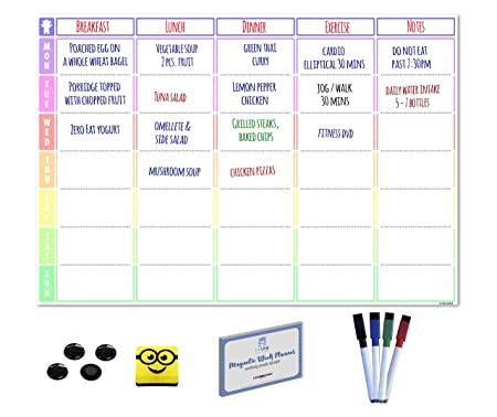 magnetic meal planner and action plan whiteboard ideal week