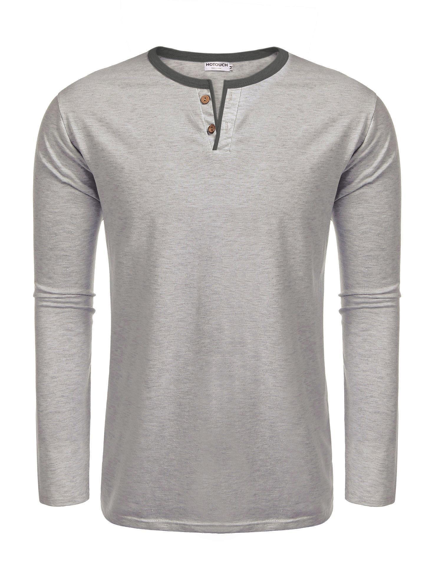 Donkap Men's Long Sleeve Heavyweight Henley Grey L
