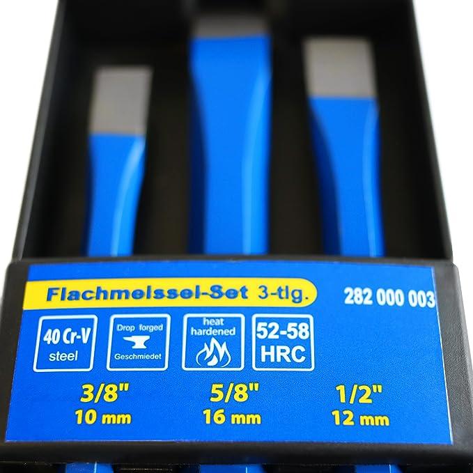 S&R Cinceles albañil - Juego de 3 Cinceles de Albañil 16 x 170 mm, 12 x 150 mm, 10 x 140 mm de cromo vanadio: Amazon.es: Bricolaje y herramientas