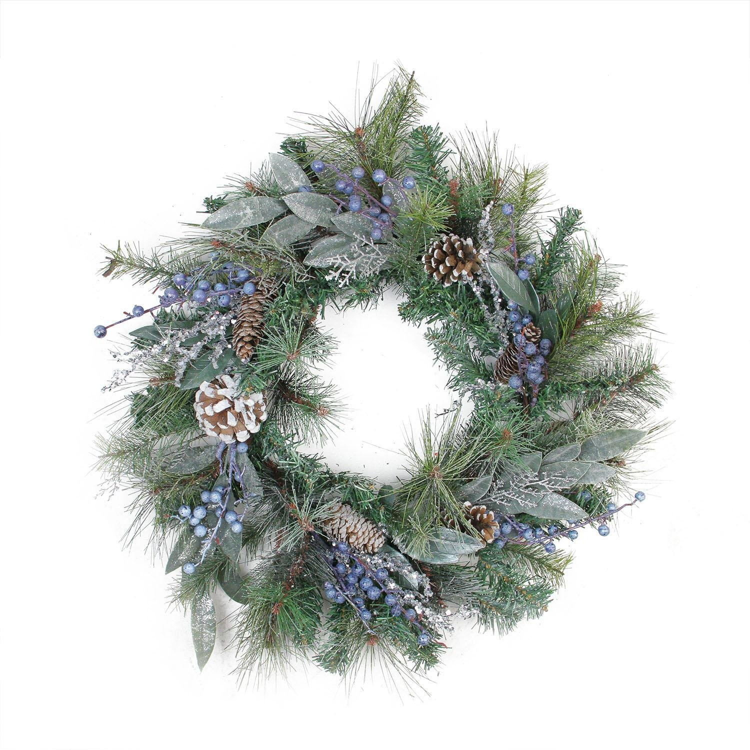 Artificial Snowy Pine Cones & Mixed Berries Christmas Wreath - ChristmasTablescapeDecor.com