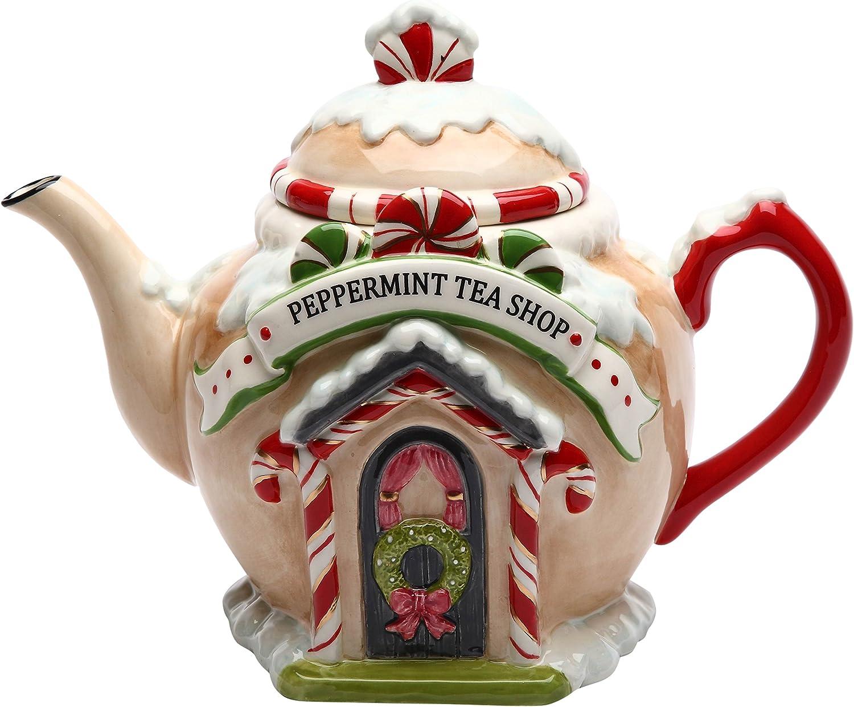 Cosmos Gifts Santa's Village Ceramic Teapot, 7-1/4-Inch