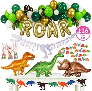 """116pc Dinosaur Party Supplies - Decorations Set – 3 Big 33"""" Jurassic Park & Gold ROAR Foil Balloons, Cupcake Toppers & Tattoo Stickers, Jungle Theme Balloon Garland for Little Dino (GOLD)"""
