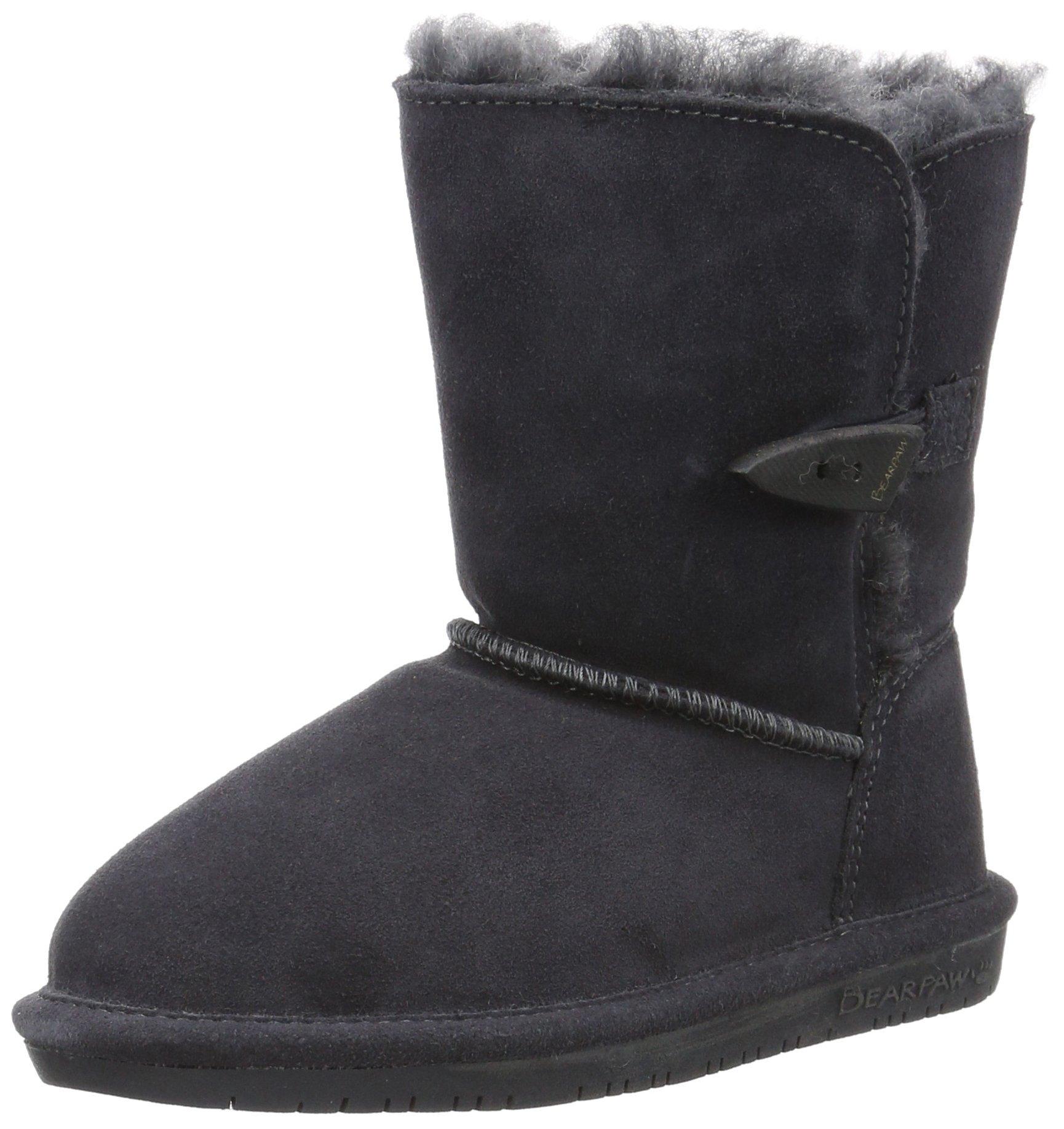 Bearpaw Abigail Charcoal Unisex Kids Shearling Boot Size 1M
