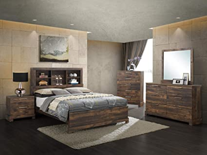 GTU Furniture Contemporary Bookcase headboard Bedroom Set (Brown) (King  Size Bed, 6 Pc)