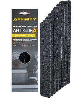 Anti Slip Tape   Premium 8 Pre Cut Strips, Black 80 Grit Slip