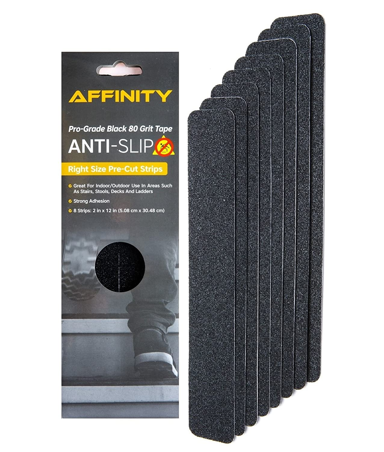 Anti-Slip Tape - Premium 8 Pre-Cut Strips, Black 80 Grit Slip Resistant Safety Treads - 2 inch x 12 inch Rounded Corners - Right Size and Ready to Use for Easy Application