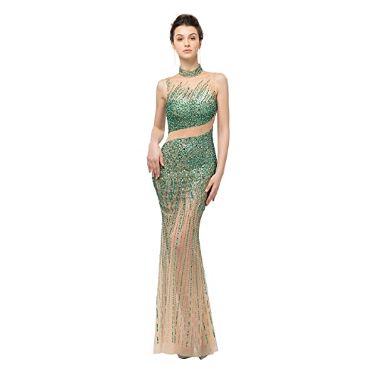 44e472e183 Lazacos Women's Sexy Round Neck Sheer Beaded Rhinestones Mermaid Evening  Prom Dress Green US2