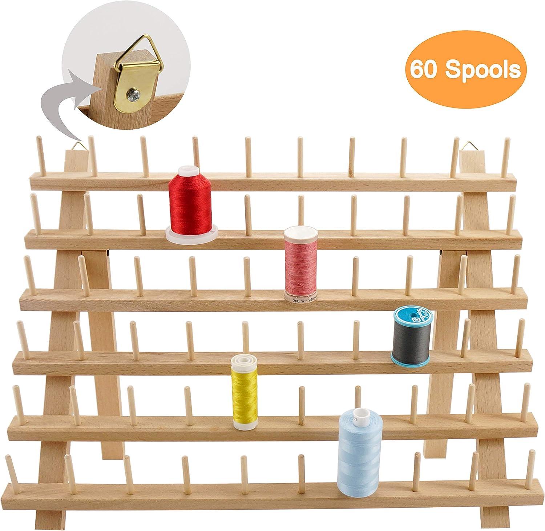 New brothread 60 Carretes Organizador de hilo de madera/estante de hilo con ganchos para colgar para bordar, acolchar y coser hilos