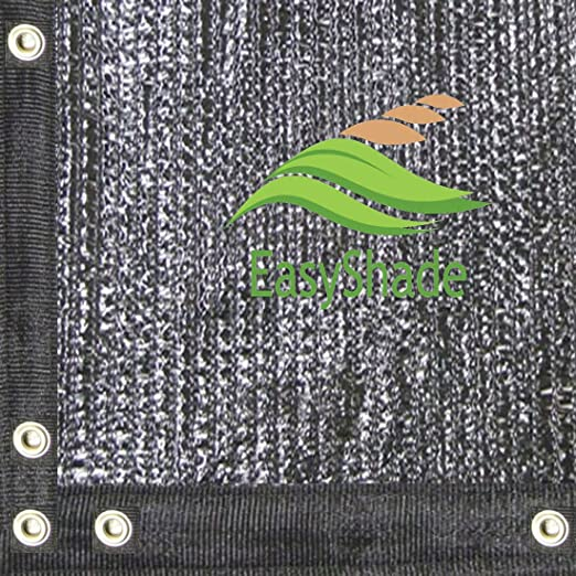 JTsuncover Black 10 ft x 20 ft 90/% Heavy Duty Shade Cloth Mesh Sun Block Fabric with Grommets