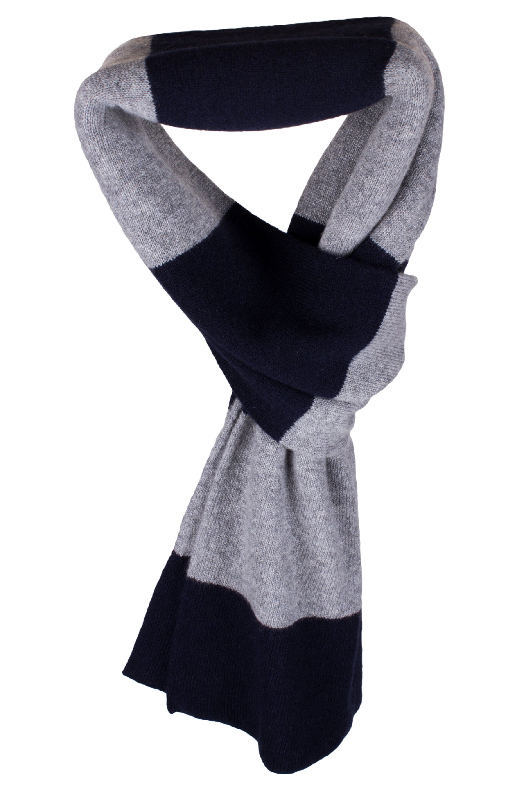 Mens Striped 100% Cashmere Scarf - Navy / Light Gray - hand made in Scotland by Love Cashmere