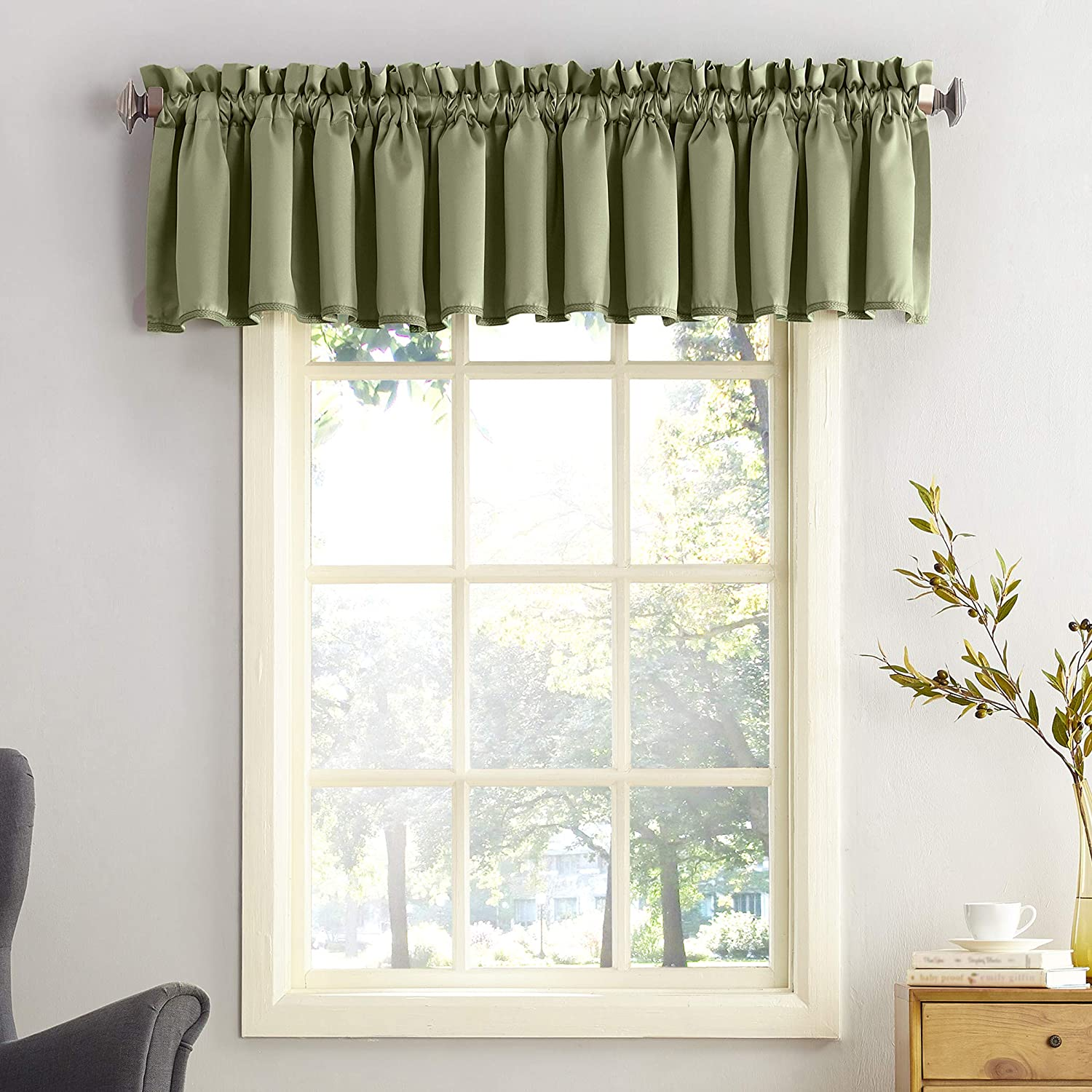 "Sun Zero Barrow Energy Efficient Rod Pocket Curtain Valance, 54"" x 18"", Sage Green"