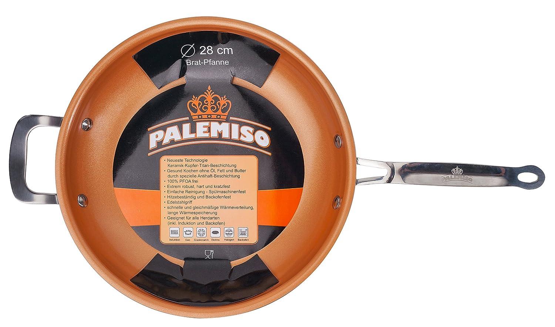 Sartén con revestimiento de cobre, cerámica y titanio de Palemiso, cerámica, cobre, 28 cm: Amazon.es: Hogar
