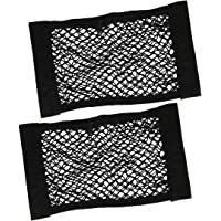 BeiLan 2pcs Storage Net for Car Back Seat Car Back Rear Trunk Seat Cargo Net Magic Sticker Elastic String Net Mesh Storage Bag Luggage Holder Pocket Cage Organizer 40 * 25cm