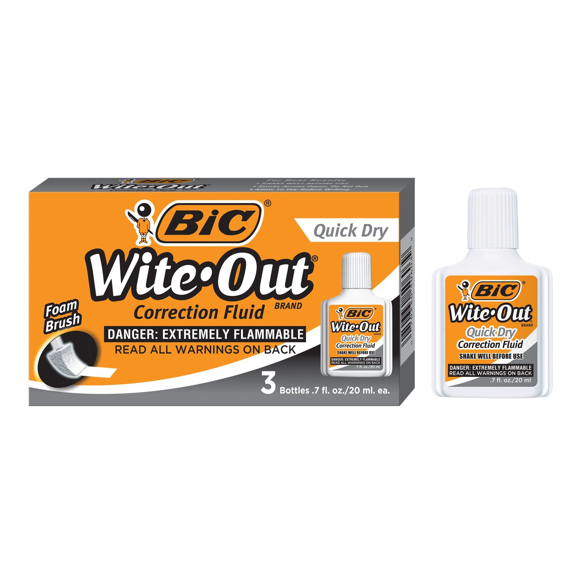 BIC Wite-Out Quick Dry Correction Fluid - 3 Pack