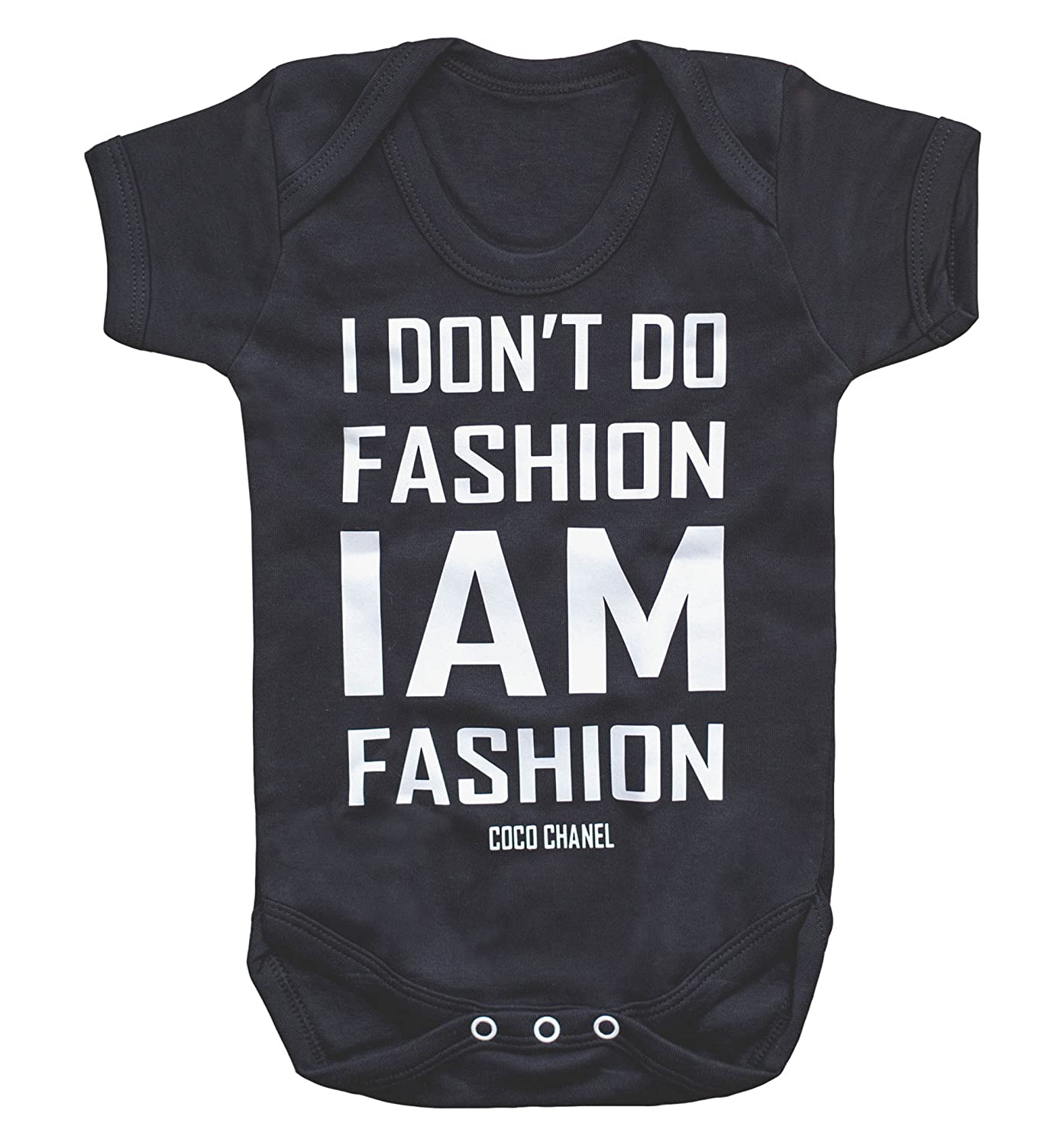 c7af07d54 Amazon.com: Coco Quotes I Don't Do Fashion I Am Fashion- Chanel Baby Cute  Bodysuit Or Shirt Typographical Quote: Clothing