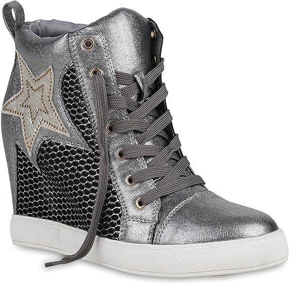 Stiefelparadies Damen Sneaker Wedges mit Keilabsatz Metallic Glitzer Flandell