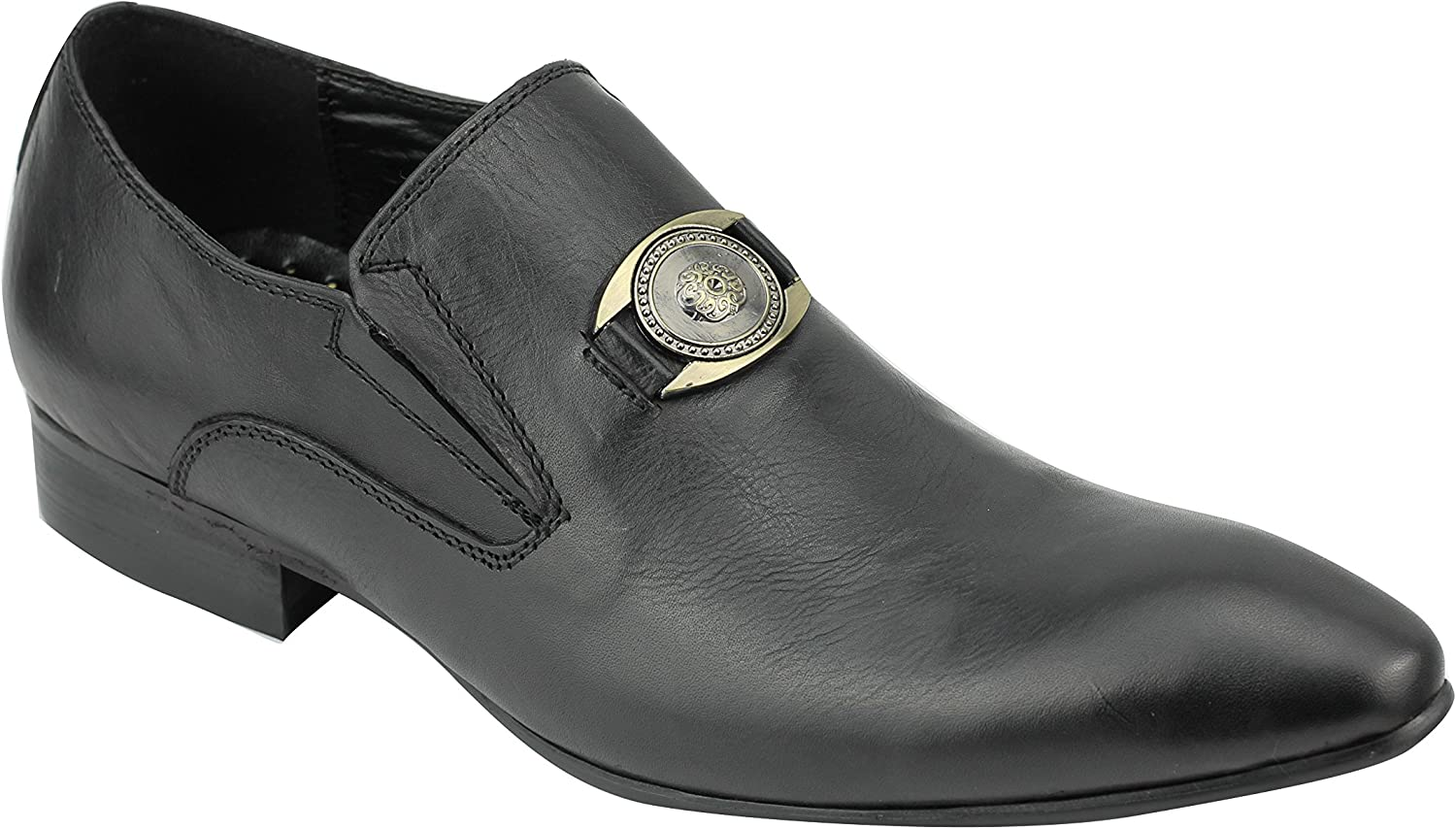 Mens Real Leather Black Brown Smart Casual Slip on Loafers Winklepickers Shoes